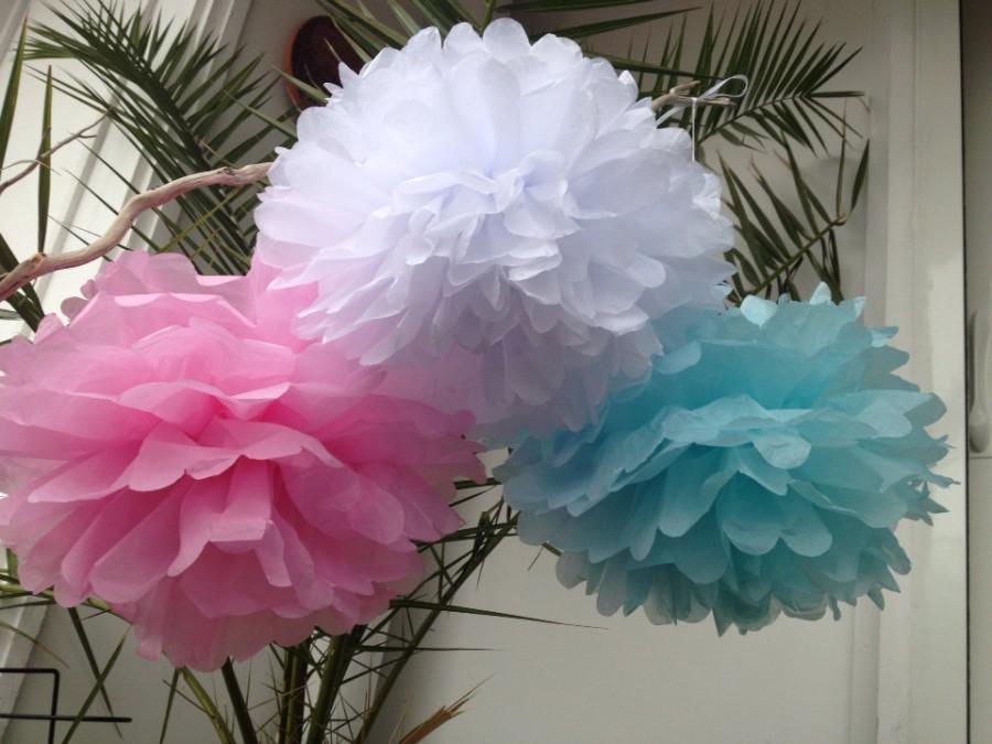 "Mariage - Set of 3 Tissue Pom Poms Party Decoration Paper Pompoms Tissue Poms Wedding Decorations Ceremony Decor Paper Flower 10""8"" Aqua Pink"