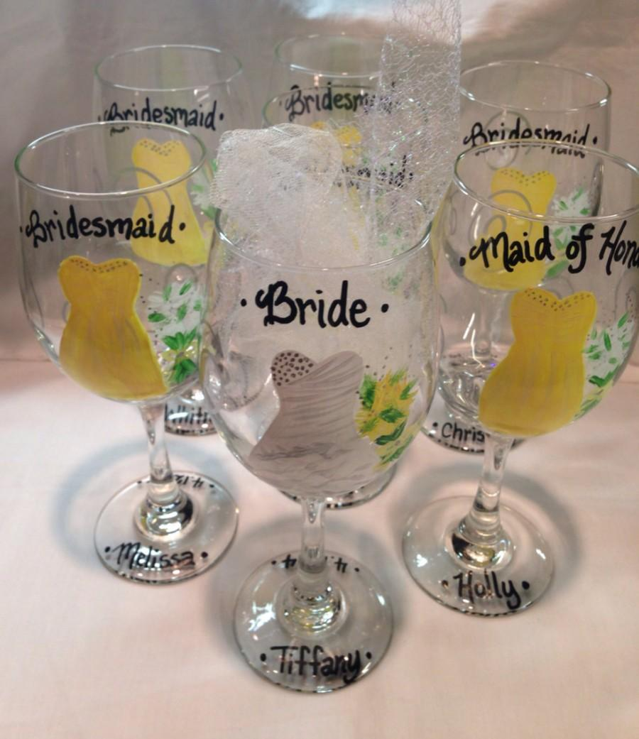 Wedding glasses bridal party handpainted wine glasses personalized