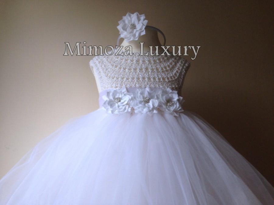 Free Crochet Tulle Dress Pattern : White Flower Girl Dress, Tutu Dress, Bridesmaid Dress ...