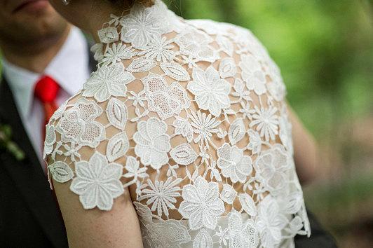 Mariage - Krista Italian guipure embroidered lace bolero shrug cap sleeves ivory off white S M L CUSTOM