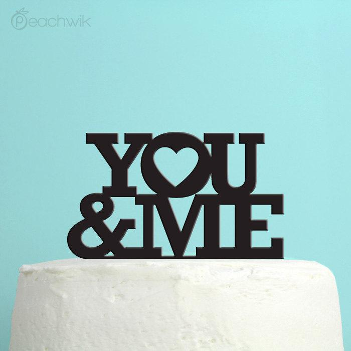 Mariage - Wedding Cake Topper - You and Me cake topper - Soulmates & Hearts - Unique Wedding Cake Topper - By Peachwik - CT14