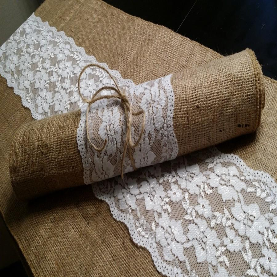 Свадьба - Burlap and Lace Table Runner, 14 inches wide Wedding, Party, Home Decor, Custom Wedding Decor Vintage Rustic Look
