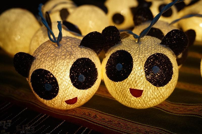 Wedding - 35 Cotton Ball String Lights Panda Lights for Kid bedroom birthday  light display garland decorations