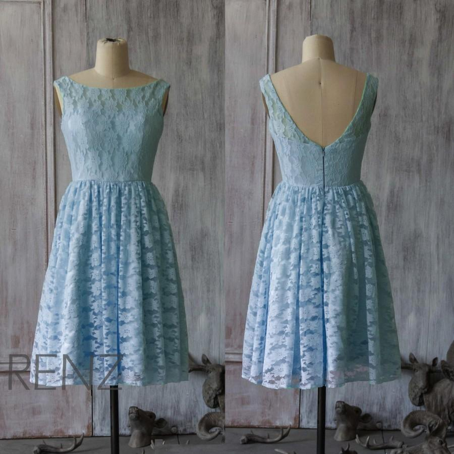2015 Light Blue Lace Bridesmaid Dress, Blue Wedding Dress, Short ...