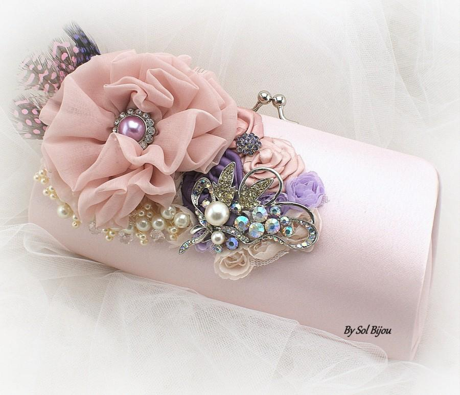 Blush Clutch Purple Lilac Handbag Bridal Purse Mother Of The Bride Bridesmaids Brooch Feathers Crystals Pearls Elegant
