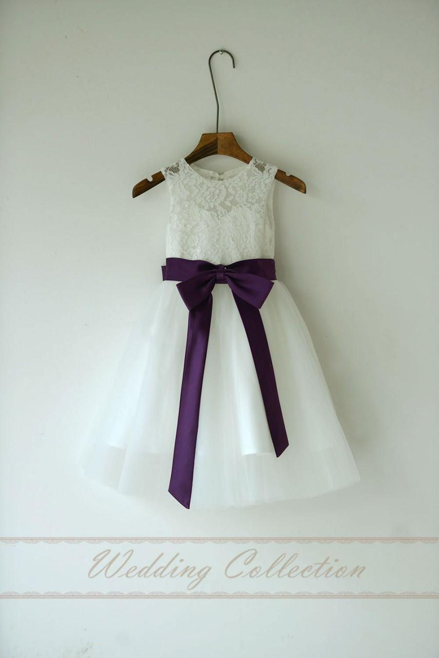 Wedding - Lace Flower Girl Dress,Flower Girls Dresses with Eggplant Sash and Bow