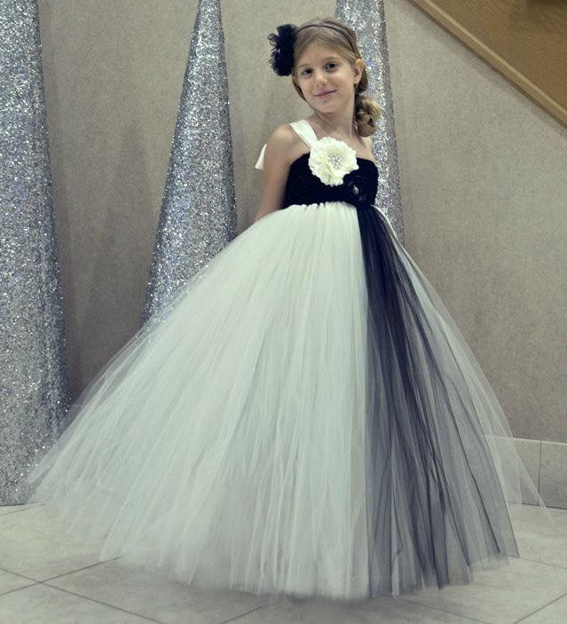 Vintage Ivory Flower Girl Dress, Ivory Flower Girl Dress, Black ...