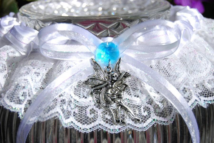 Свадьба - Set of Two Enchanted Fairy  & Mushroom Blue Wedding Garter, Iridescent White Lace, Hand Fasting, Bridal Garter, Wicca Fantasy
