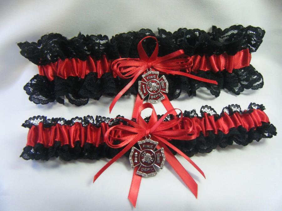 Свадьба - FIREFIGHTER Fireman Wedding garters Red and Black Garter Lace set