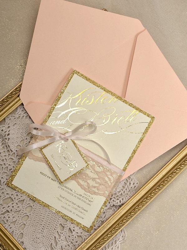 Свадьба - Custom listing(20)Gold Glitter Wedding Invitation,Peach Gold Invitation,Glitter Lace Invitations, Glamour Peach Inviation,