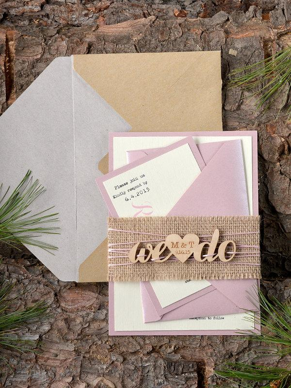 Custom Listing 20 Rustic Wedding Invitation Pink Wood – Wood Invitations Wedding