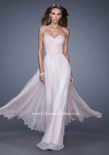 Wedding - Beaded Lace Applique Chiffon Blush A-line Sweetheart Prom / Homecoming / Evening Dresses By 2015 La Femme 20535
