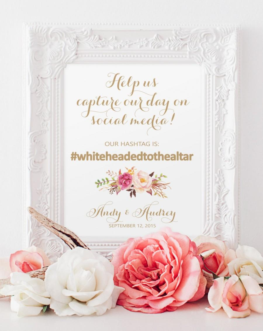 """Mariage - Social Media Sign - Instagram Sign - 8 x 10 - Personalized - """"Vintage"""" Gold Script - I Create and You Print"""