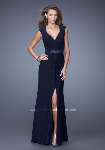 Hochzeit - V-neck Chiffon Navy Cap Sleeves Crystal Ruched Split Prom / Homecoming / Evening Dresses By 2015 La Femme 20539