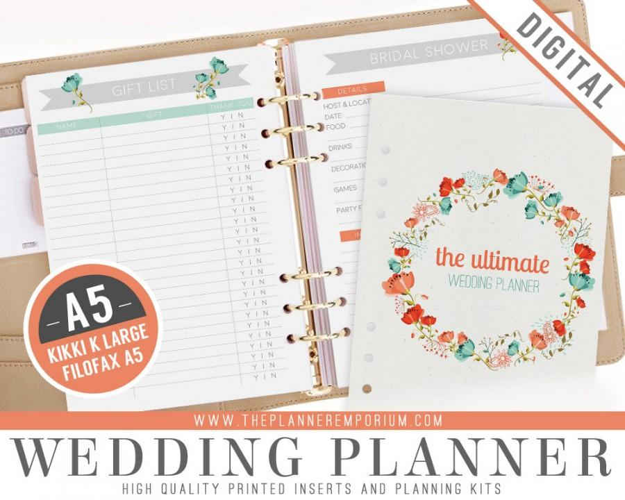 A5 Ultimate Wedding Planner Organizer Kit Instant Printable Diy 52 Unique Pages To Do List Budgets More Binder