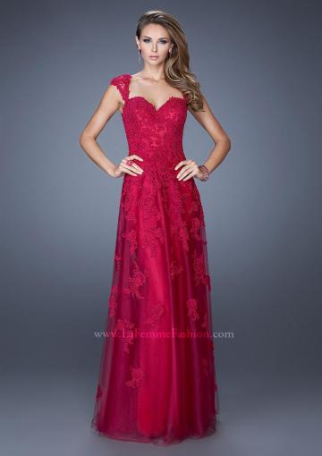 Wedding - Sweetheart Cap Sleeves Cranberry Tulle Lace Appliques Prom / Homecoming / Evening Dresses By 2015 La Femme 20558