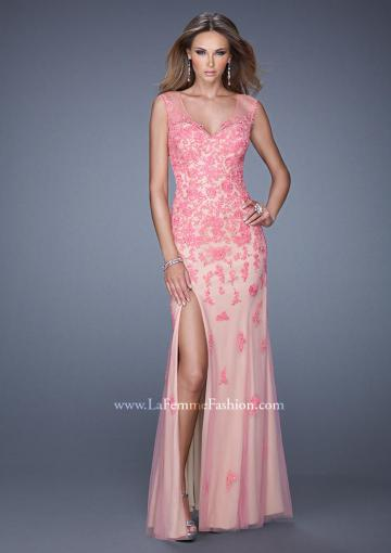 Wedding - Beading Lace Split Tulle Column V-neck Floor Length Prom / Homecoming / Evening Dresses By 2015 La Femme 20569