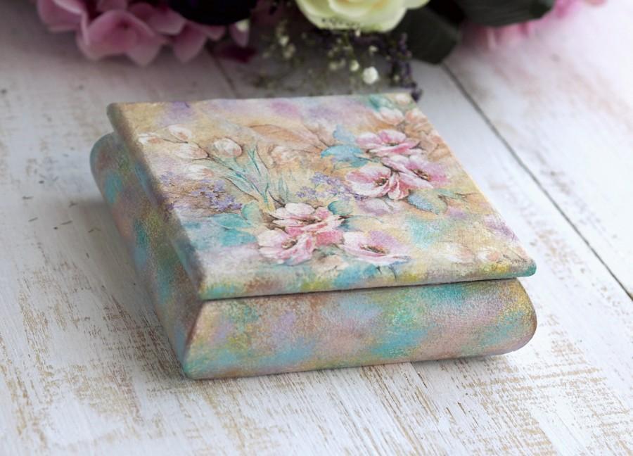 Свадьба - Mother Gift Box, Flower Box Decor, Floral Jewelry Box, Wood Flower Box, Flower Trinket Box, Square Wood Box, Decorative Box