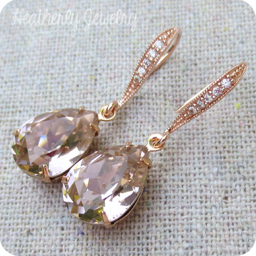 Свадьба - Swarovski Crystal Blush Pink Rose Pear Tear Stone Rhinestone Dangling Delicate Bridal Wedding Rose Gold Cubic Zirconia Bridal Earrings