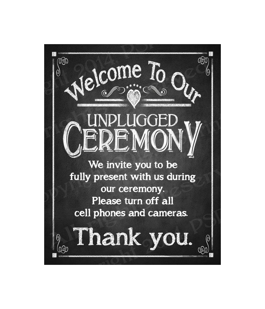 Mariage - PRINTABLE Chalkboard Wedding Sign - Welcome to our Unplugged Ceremony - instant download digital file - DIY - Rustic Heart Collection