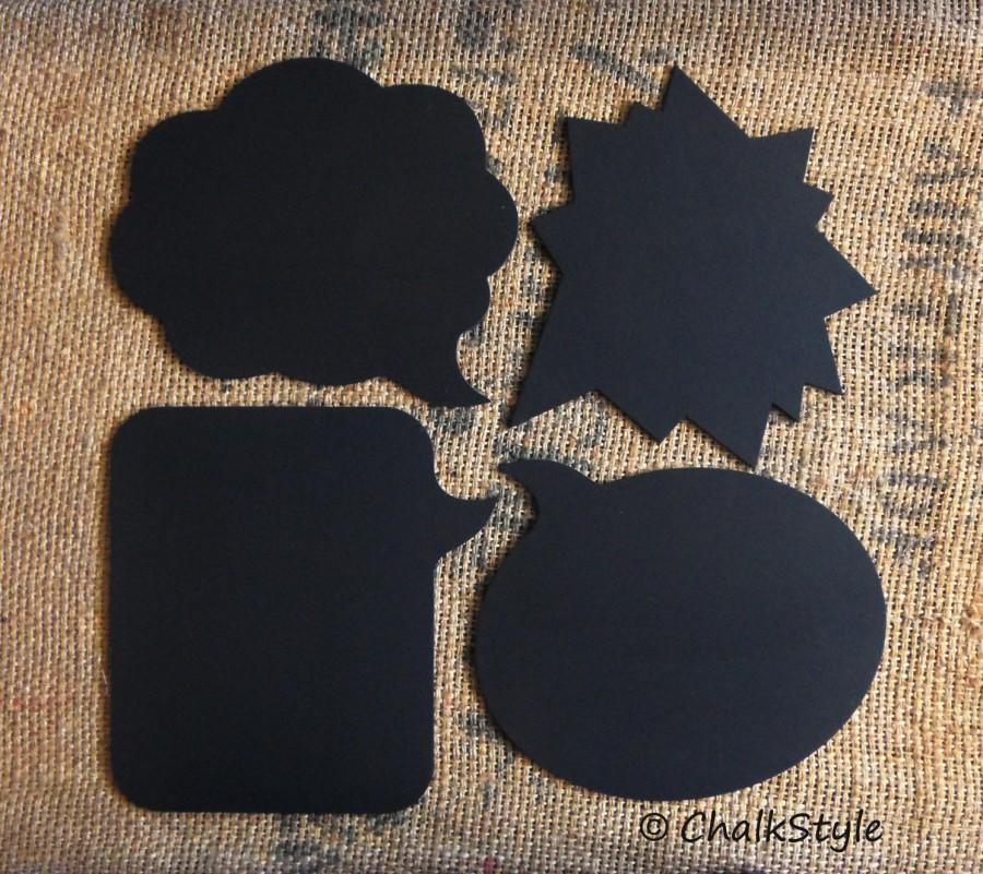 Mariage - 4 Large Chalkboard Speech Bubbles Wedding Photo Props Set Chalk Board Photography Props Save the Date,Wedding, Pregnancy Maternity Baby Pics