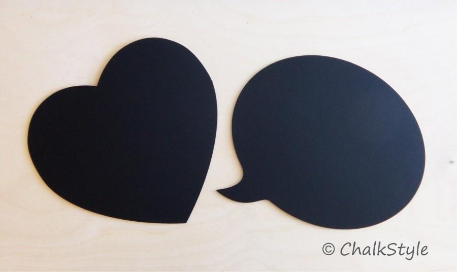 Mariage - 2 CHALKBOARD Large Speech Bubble and Heart Rustic Wedding Decor or Photo Booth Prop, Engagement Pictures Props  Chalk Board Signs