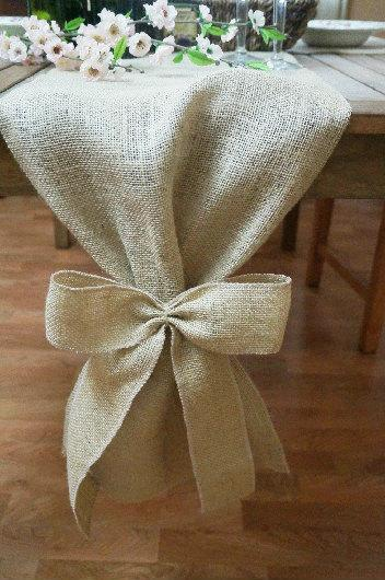 Mariage - Burlap Table Runner, Plain with Burlap Bows, Rustic Wedding, Wedding Table Runner, Party Decoration, Custom Length Available