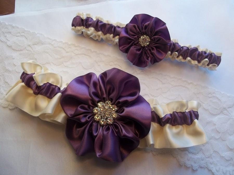 Purple Wedding Garter Set Amethyst Purple And Ivory With Rhinestone Center