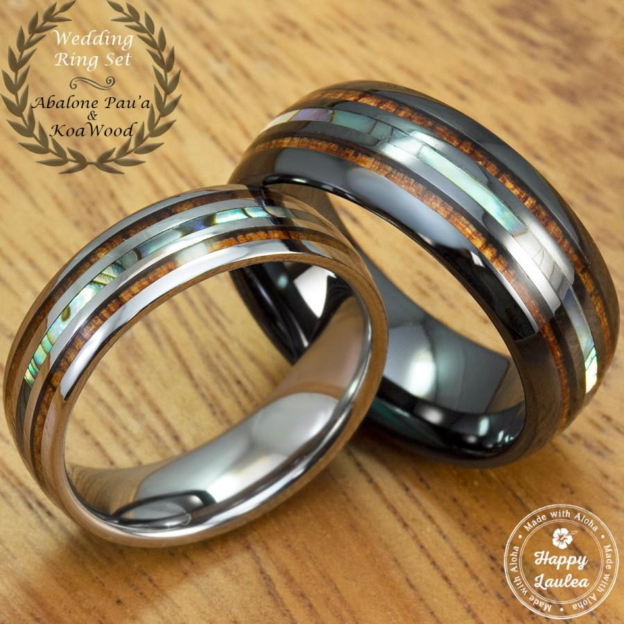 Black Ceramic And Tungsten Wedding Ring Set With Abalone Pau A Shell