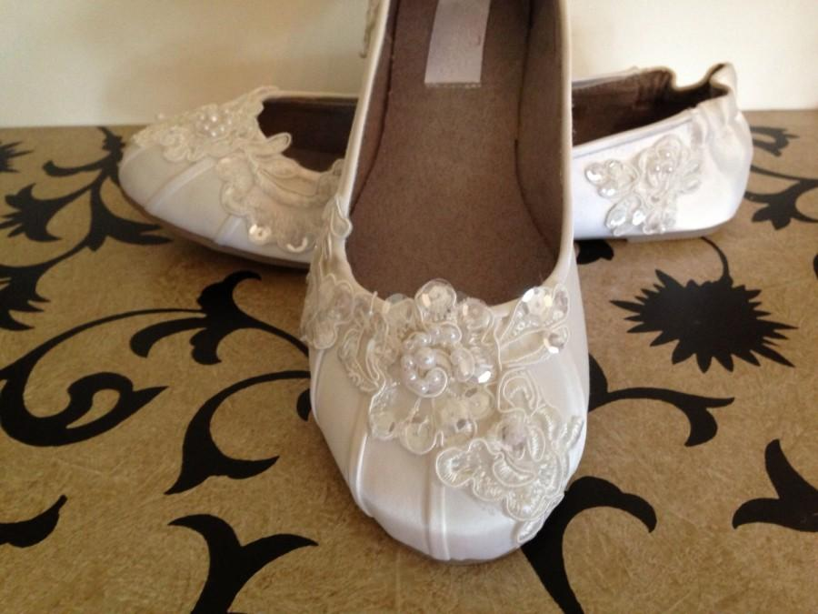Свадьба - Custom Bridal Lace Flats Ballet Style Bride Shoe Ivory White-Kate