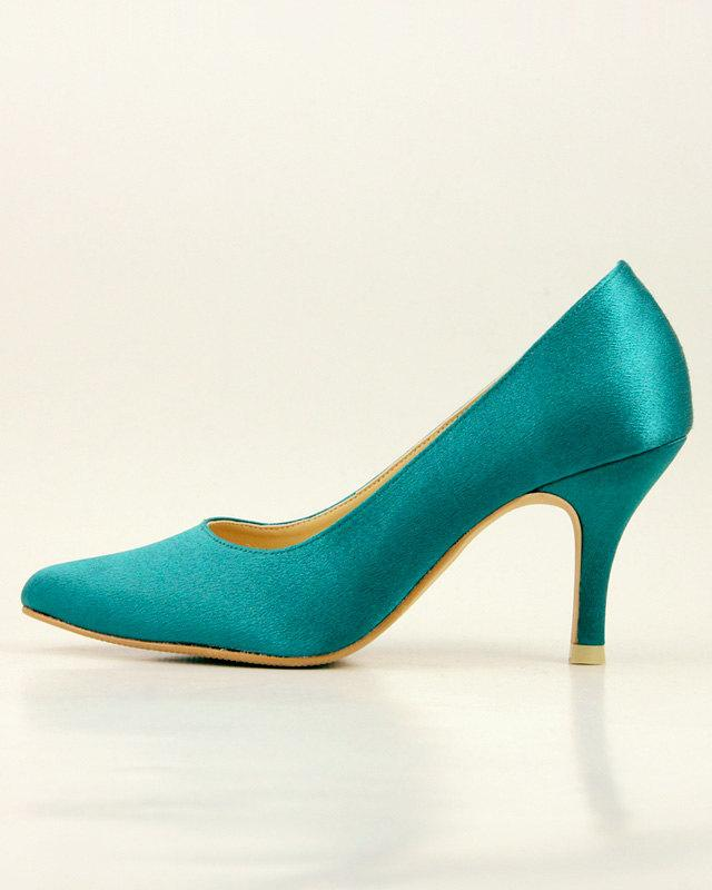 Teal Wedding Shoes Dark Green Emerald Bridal Mother Of The Bride Pointed Pump