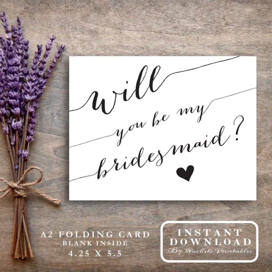 graphic regarding Will You Be My Bridesmaid Printable identified as Bridesmaid Card Printable \