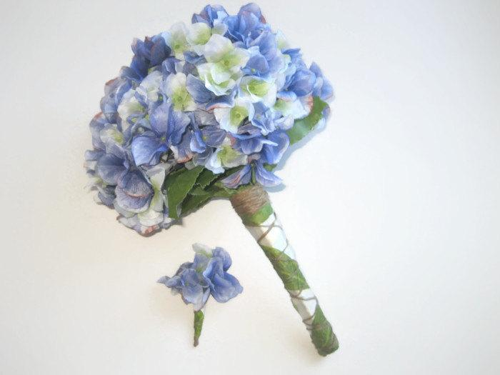 Свадьба - Blue/Green Hydrangea Wedding Bouquet