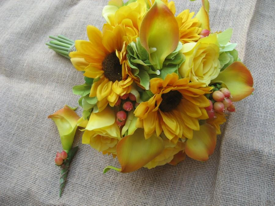Свадьба - Sunflowers, Calla Lilies, Roses, Hydrangea and berries / wedding Bouquet