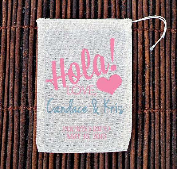 Hochzeit - Hola Personalized Welcome Bag- Muslin Cotton Mini Favor Bags