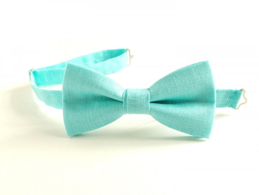 Mariage - Aqua Bow Tie- Pale Turquoise Linen Bow Tie- Adjustable pretied Men's Bow Tie- Groom's Bow Tie- Beach Wedding