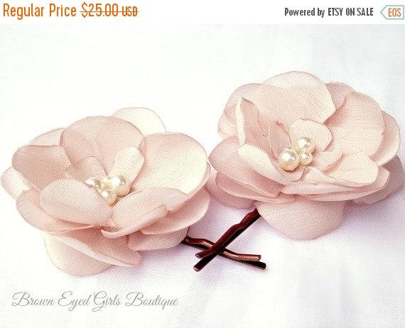 Wedding - ON SALE Blush Bridal Flower Hair Clip Duo Bobby Pins, Blush Wedding Hair Accessory, Blush Bridal Head Piece