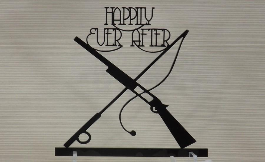 Свадьба - Happily Ever After Wedding or Grooms Cake Topper - With Fishing Rod and Shotgun. Comes with Stand and Cake Stakes