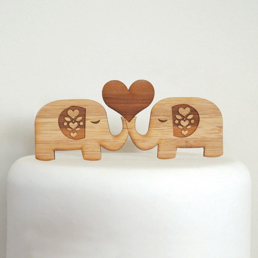 Свадьба - Cute Elephants Cake Topper - Bamboo - Wedding Cake Topper - Rustic Wedding - Modern Wedding