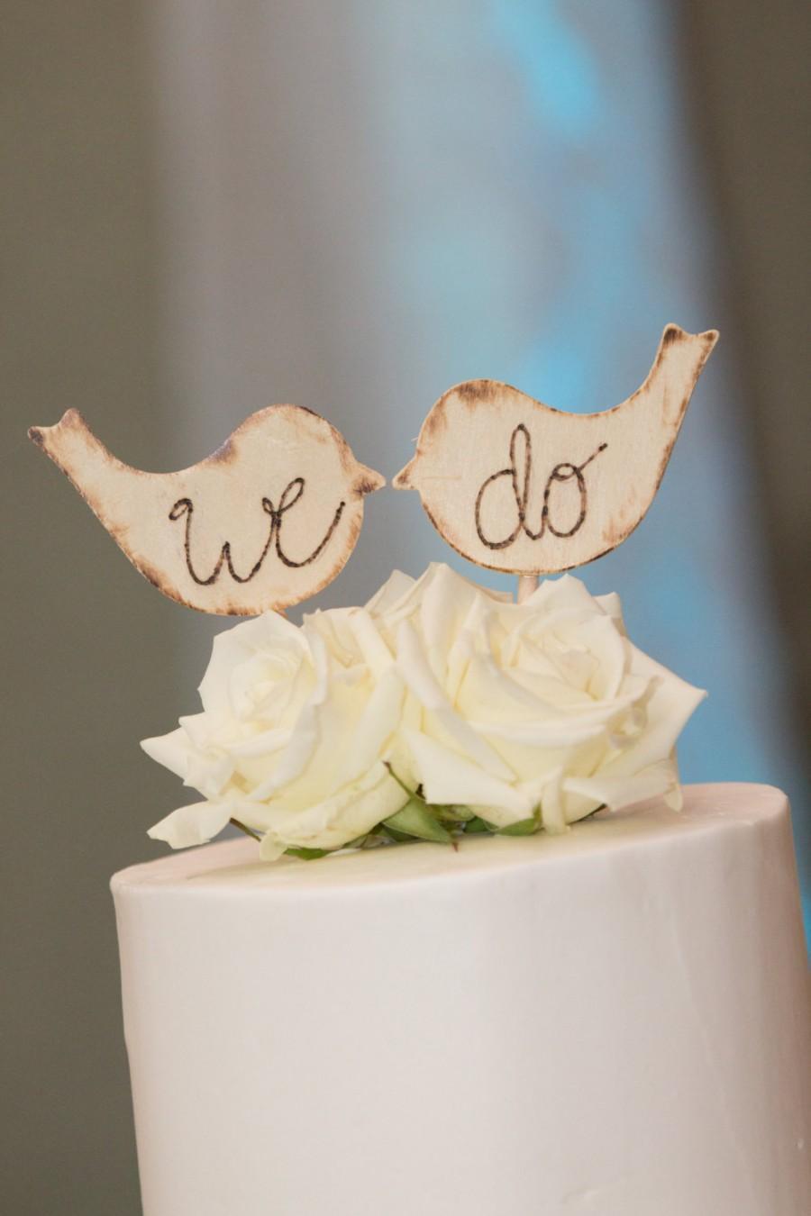 Свадьба - Rustic Wooden Wedding Love Bird Cake Toppers