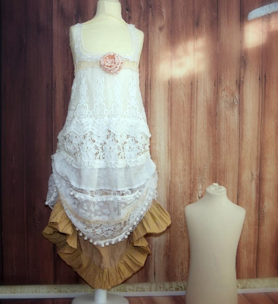 43c8994b73 White gold bohemian flower girl. Woodland wedding. Photo prop. Romantic  flower girl. Rustic lace flower girls dress. Girls size 8 years