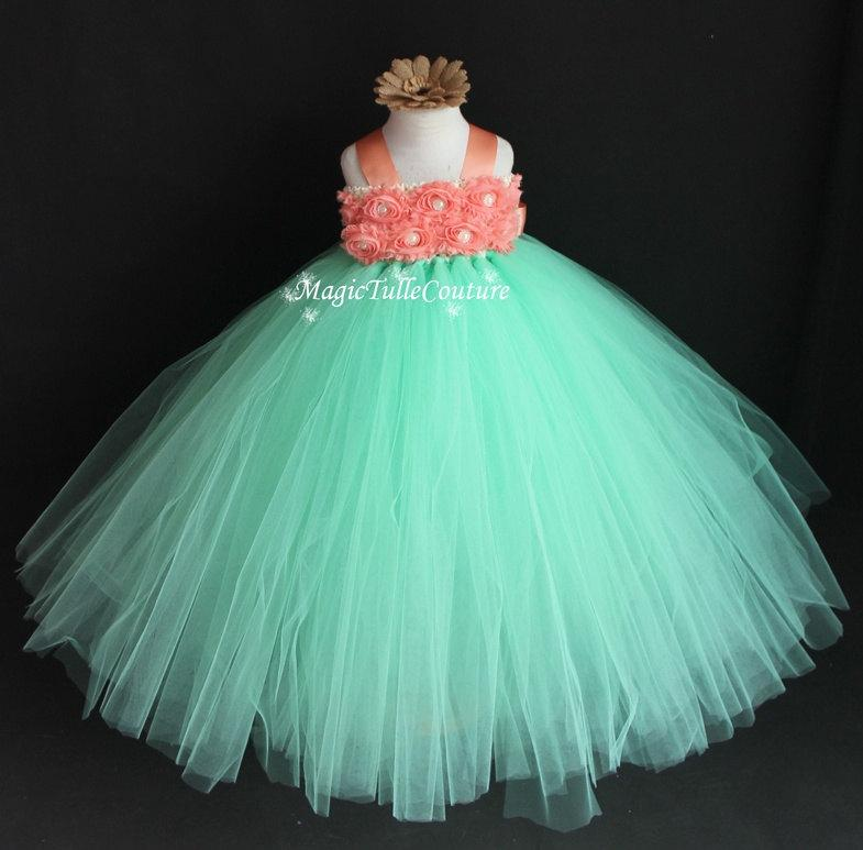 bf75d5d4b12 Mint and Coral Flower Girl Tutu Dress Tulle Dress Birthday Party Dress  Toddler Dress1t2t3t4t5t6t7t8t9t10t
