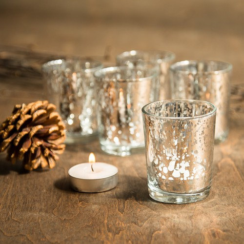 Mariage - SET OF 96 Silver Mercury Glass Candle Votive Mercury Glass Tea Light Votive Holder Silver Mercury Glass Silver Speckled Glass Candle Holder