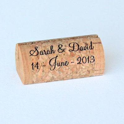 Mariage - Personalized Wine Cork Place Card Holders - Front & Back Printing