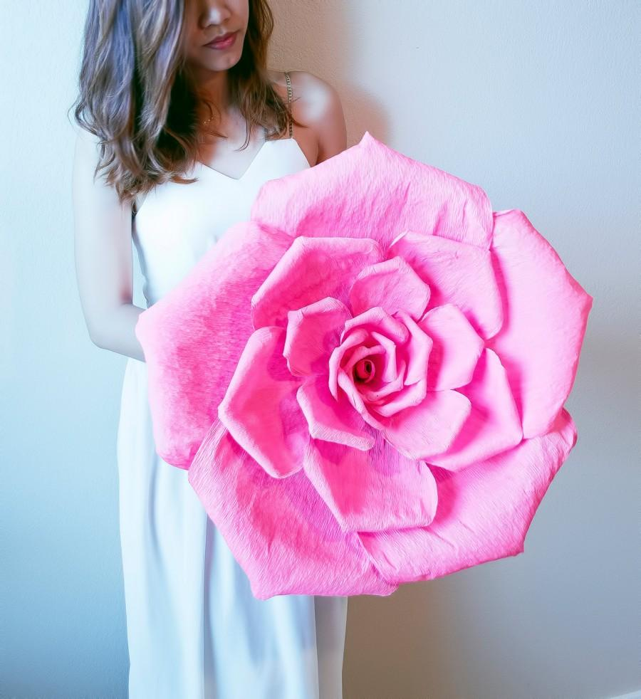 Mariage - Handmade giant crepe paper flower with or without stem, wedding bouquet, bridesmaid bouquet,  party decoration, Summer, Spring, giant rose