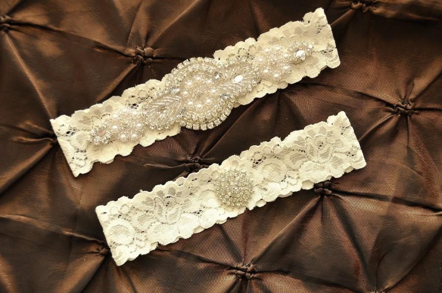 Hochzeit - Rhinestone Wedding Garter, Crystal Bridal Garter Set - Ivory Lace Garter, Keepsake Garter, Toss Garter, Crystal Wedding Garter