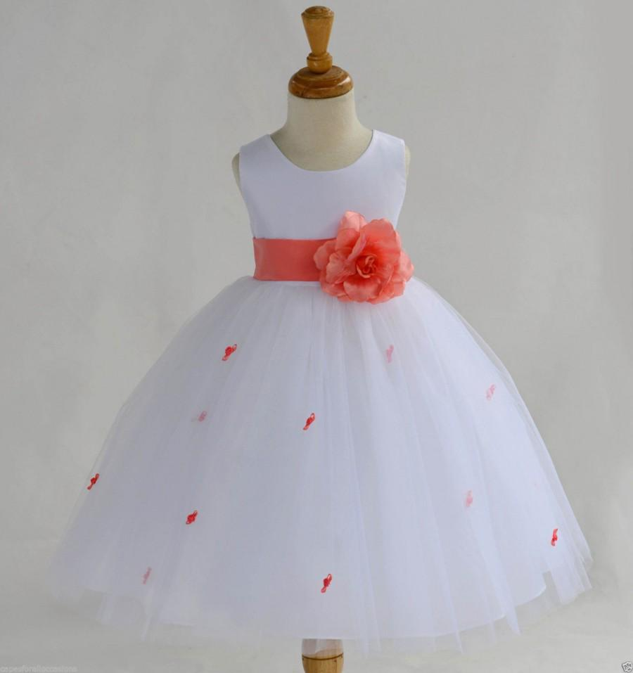 White Coral Rosebud Flower Girl Dress Sash Pageant Wedding Bridal