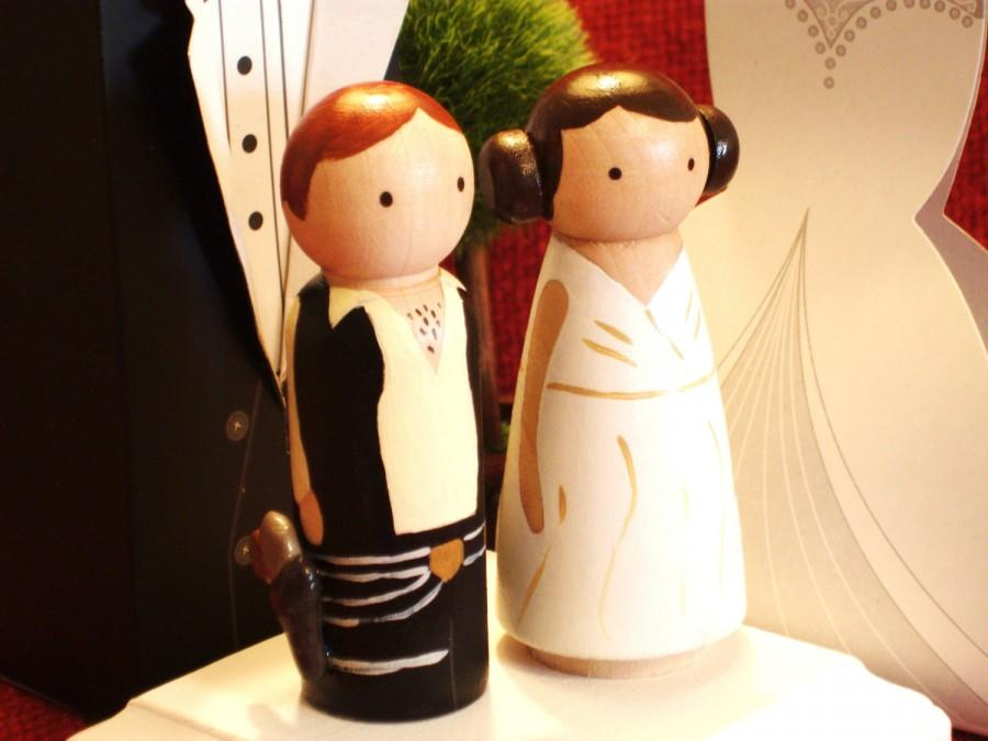 Mariage - Original 3-D StarWars Cake Topper - 3D Hans Solow and Princess Leiah  -Peg Doll Wedding Cake Toppers -3-D Accents