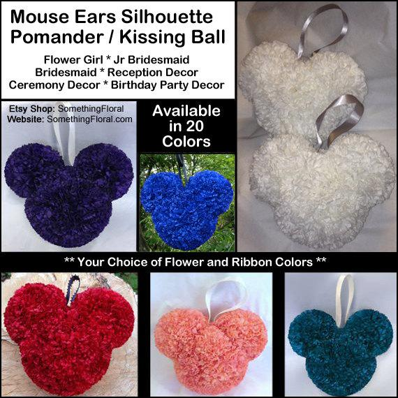 Small, Disney Theme - Mickey Mouse Ears - Kissing Ball Pomander - 21 Colors - Wedding. Birthday, Shower, Party, Decor