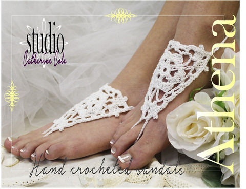 Mariage - Barefoot sandals, Bali, white, foot jewelry,pearl, beaded, beach, wedding
